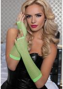 Elbow Fishnet Gloves - Lime - Os